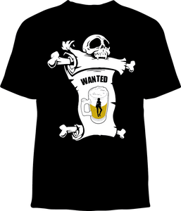 Skelebone Short Sleeve T-shirt, Wanted Beer front print