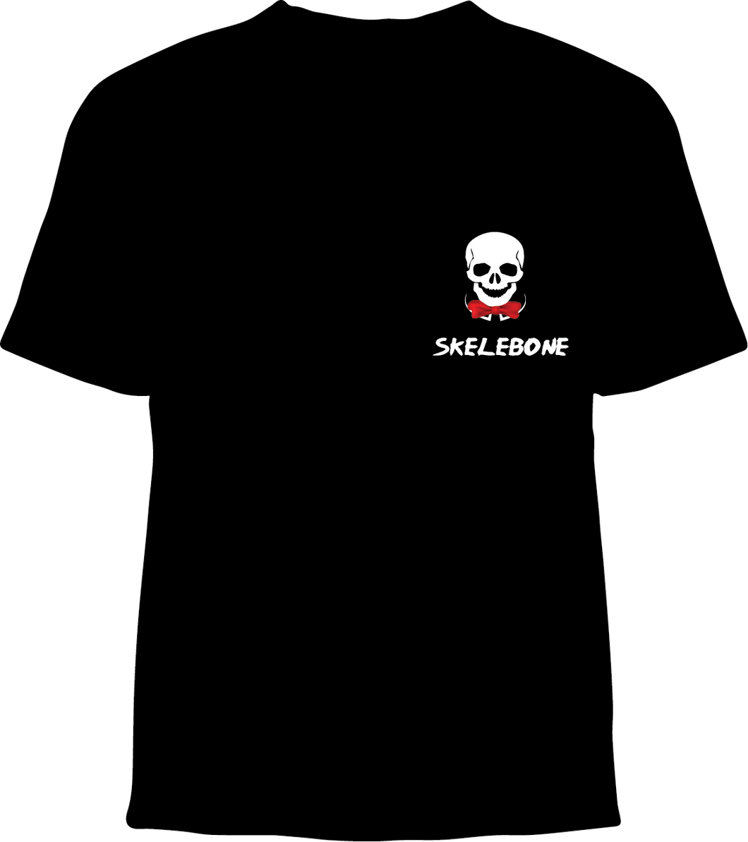Skelebone Short Sleeve T-shirt, Skull and Bowtie Logo Pocket