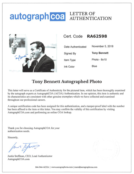 Tony Bennett Autographed Signed 8x10 Photo ACOA LOA