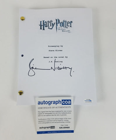 Harry Potter Bill Nighy Autograph Script Screenplay Deathly Hallows Part 1