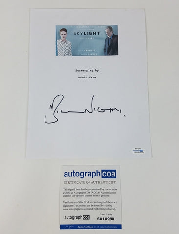 Skylight Bill Nighy Autographed Signed Script Screenplay