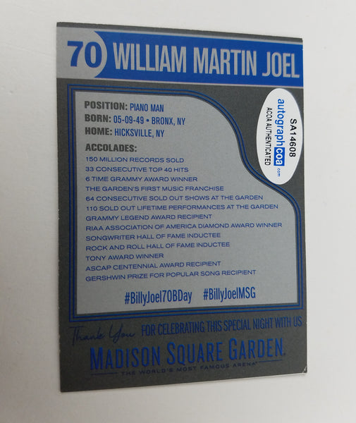 Billy Joel Autographed Signed MSG Trading Card Madison Square Garden ACOA