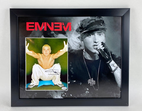 Eminem Autographed Signed 16x20 Framed Display Marshall Mathers Slim Shady