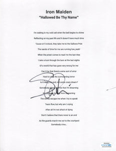 Iron Maiden Steve Harris Autographed Lyric Sheet Hallowed Be Thy Name