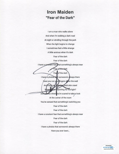 Iron Maiden Steve Harris Autographed Lyric Sheet Fear of The Dark