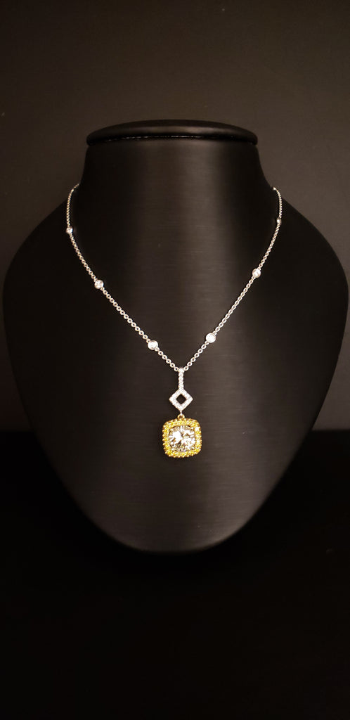 3.01CT Round Canary Yellow Diamond Halo Necklace