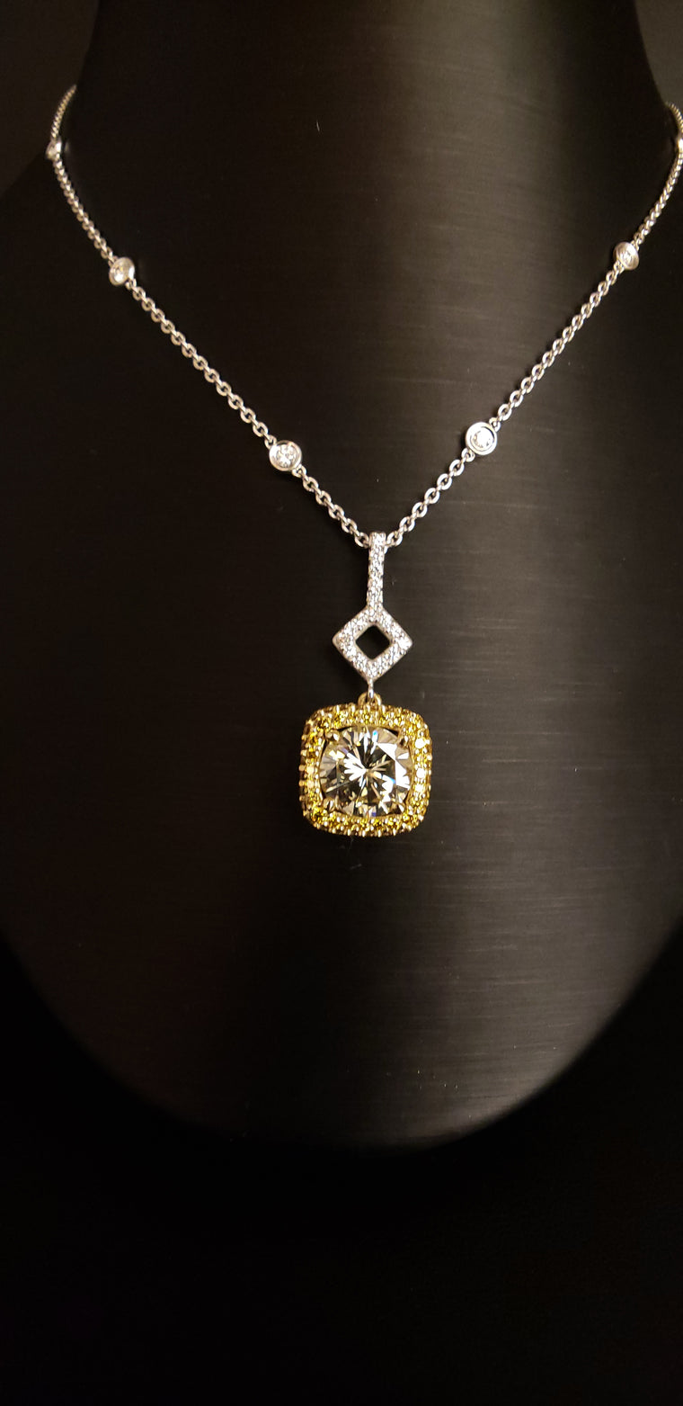 3.01CT Round Yellow Diamond Halo Necklace