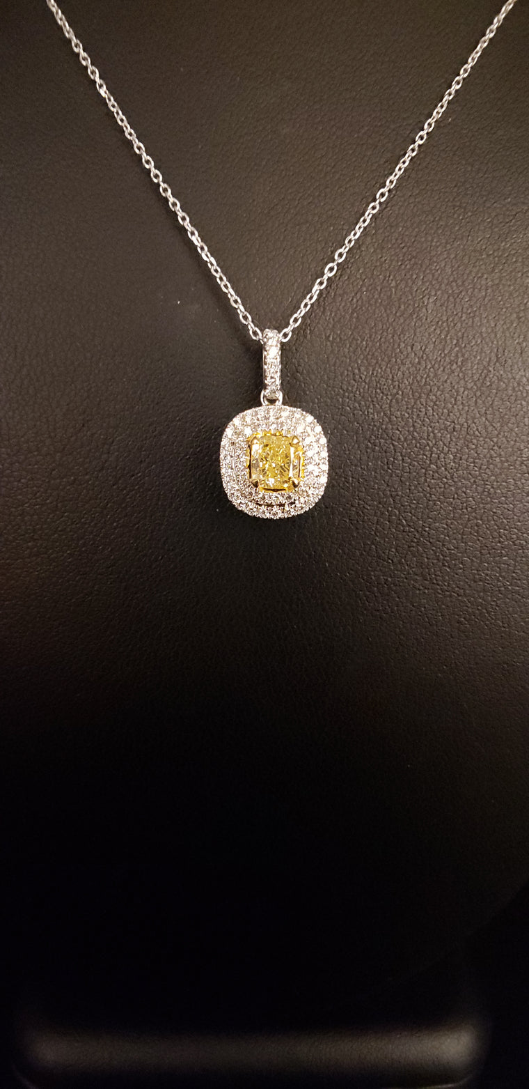 Fancy Yellow Diamond Halo Necklace