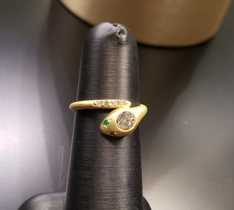 Diamond and Emerald Snake Ring