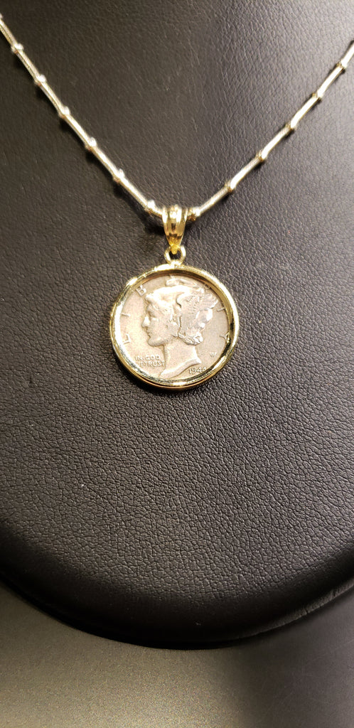 Mercury Dime Set in 14kt Yellow Gold on Sterling Silver Chain