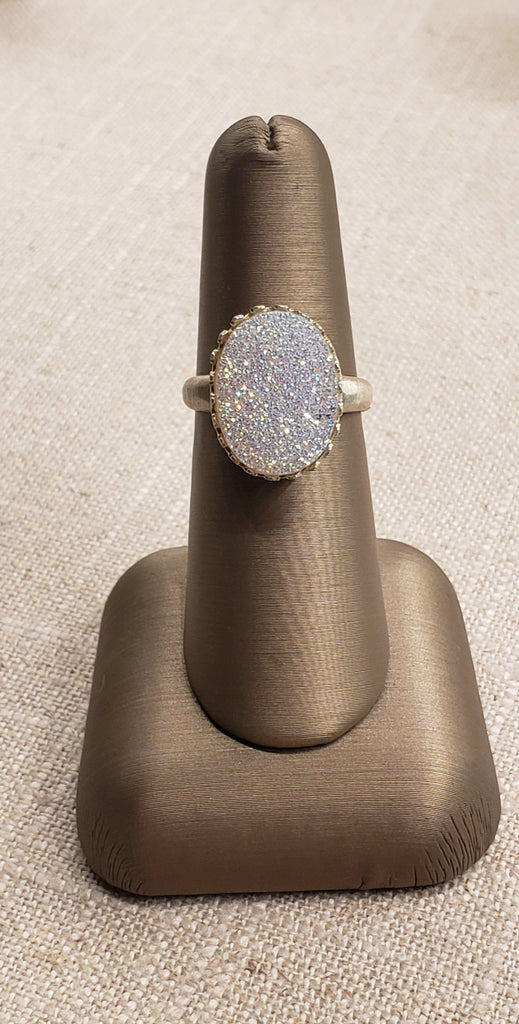 Natural Druzy Quartz Ring