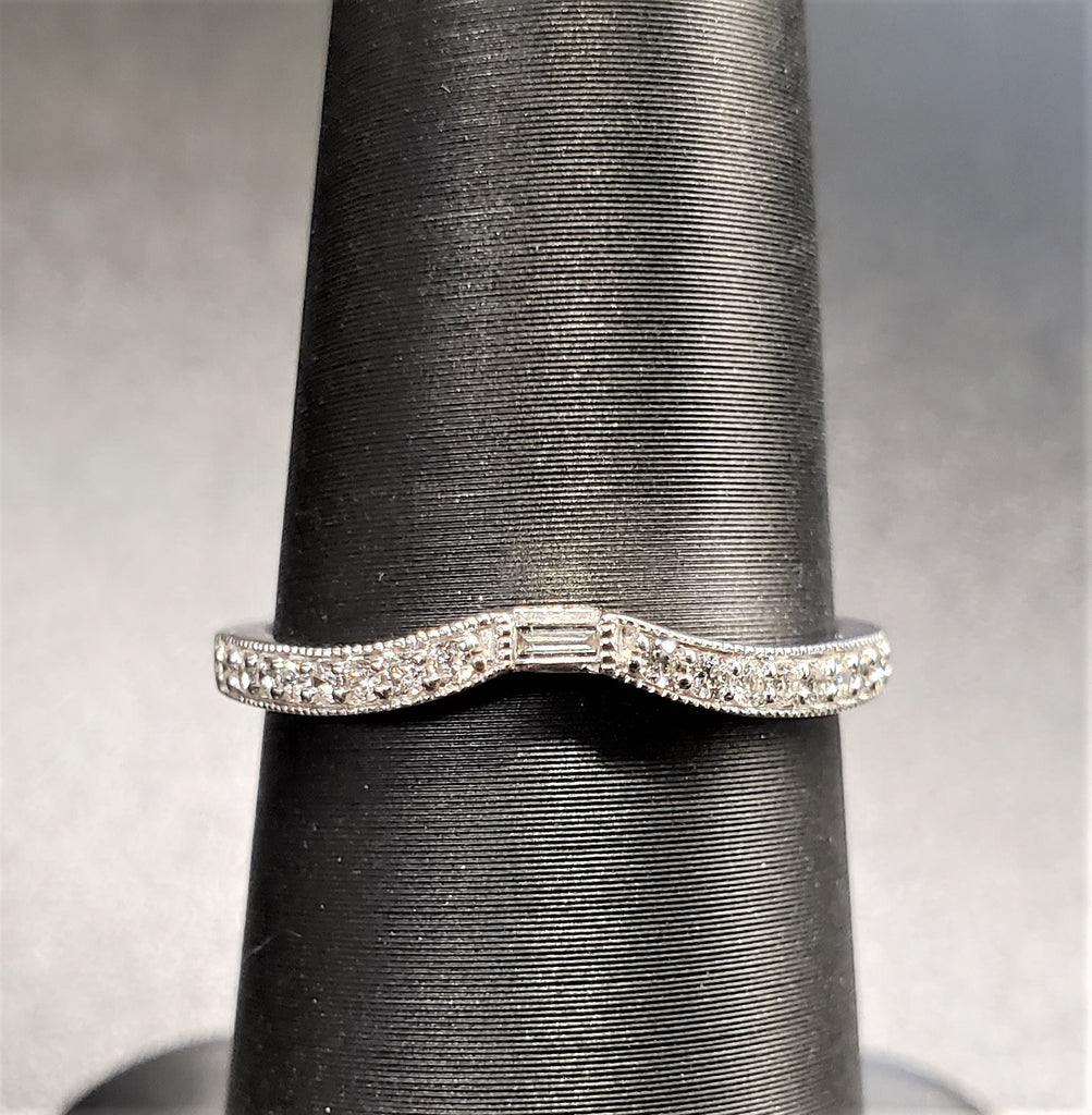 14K White Gold Curved Diamond Band