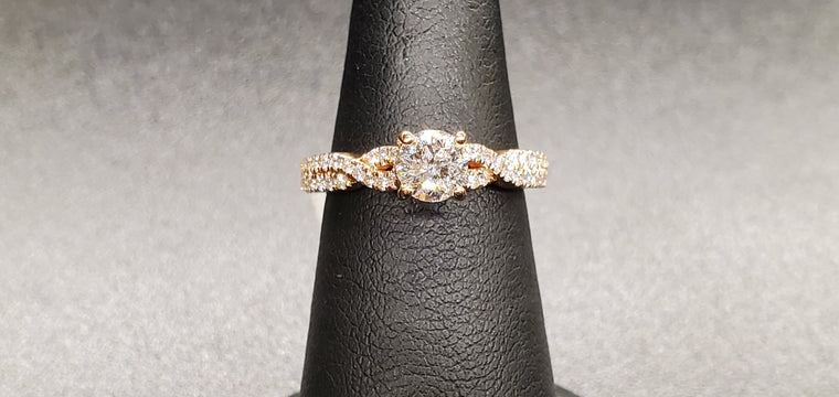 10K Rose Gold Twist Style Diamond Ring