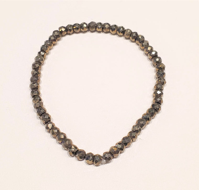Faceted Pyrite Beaded Bracelet