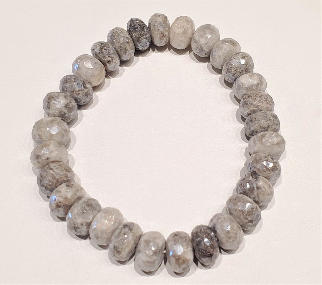 Faceted Gray Moonstone Beaded Bracelet