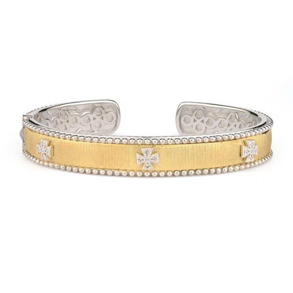 Mixed Metal 18K Gold Narrow Beaded Maltese Cuff