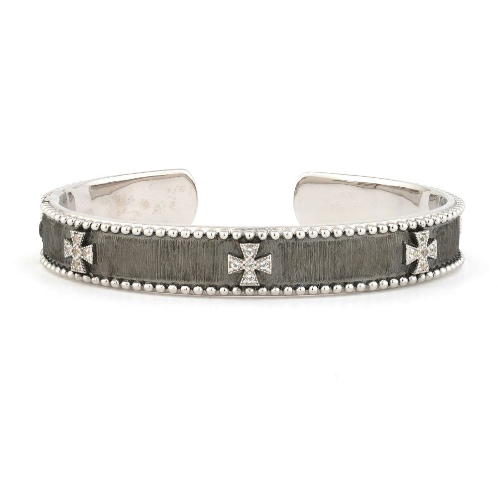 Sterling Silver Narrow Beaded Maltese Cuff