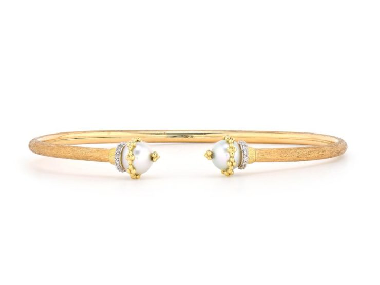 Provence Wrapped Pearl Cap Open Flexible Bangle
