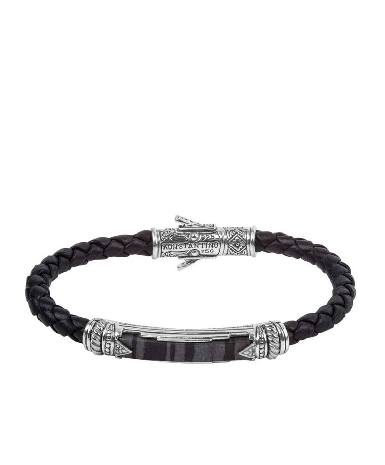 Sterling Silver Ferrite Leather Bracelet