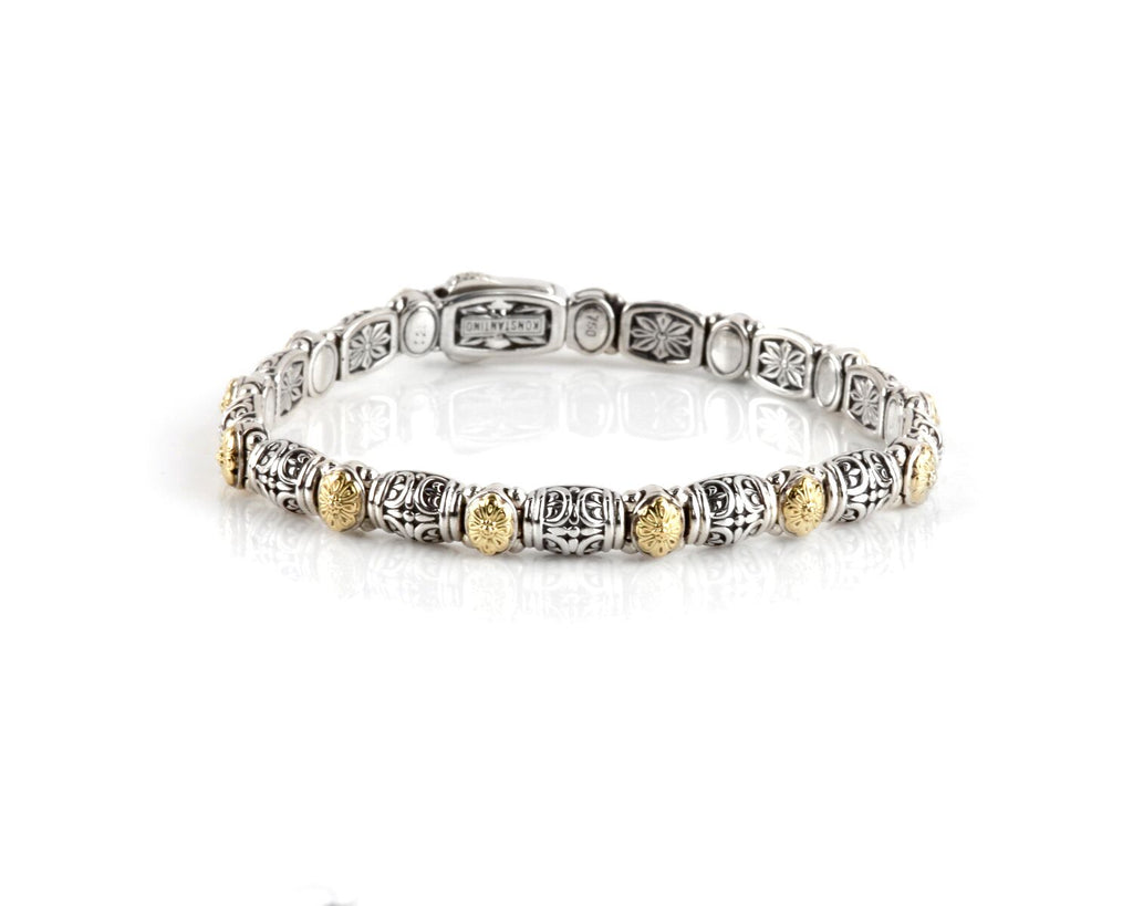 Sterling Silver & 18k Gold Dotted Clasp Bracelet