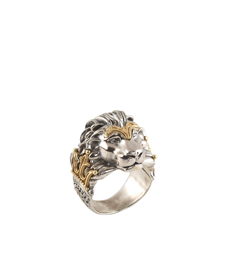 Sterling Silver & 18k Gold Lion Ring