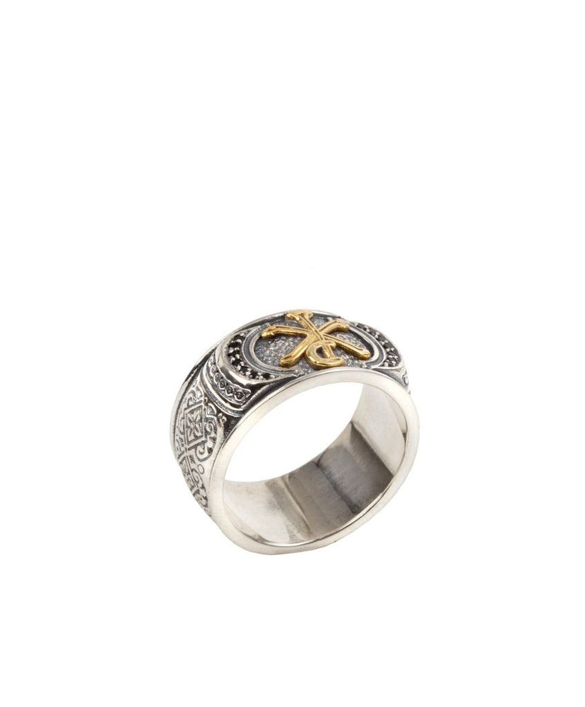 Sterling Silver & 18k Gold Black Spinel Ring