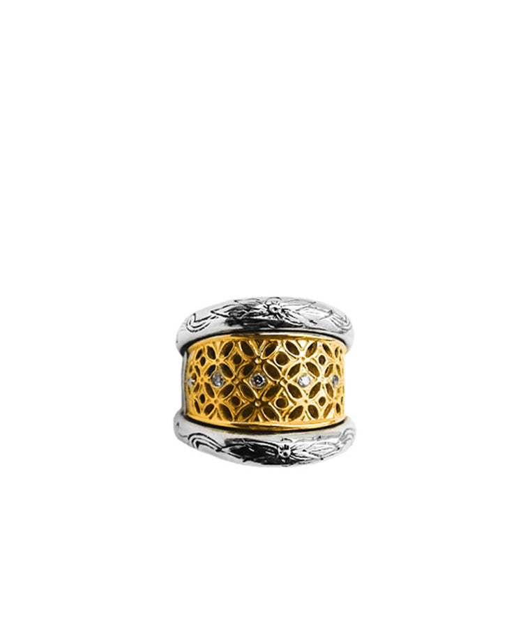 Sterling Silver & 18k Gold Diamond Ring