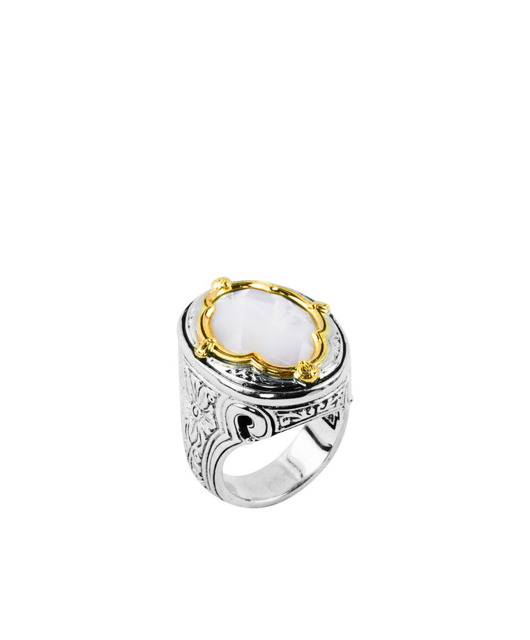 Sterling Silver & 18k Gold Mother of Pearl Ring