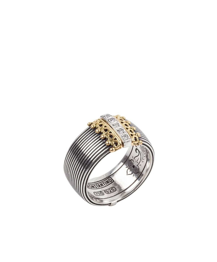 Sterling Silver & 18kt Gold Diamond Ring