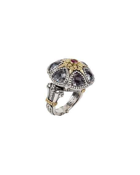 Sterling Silver & 18k Gold Crystal & Corundum Ring