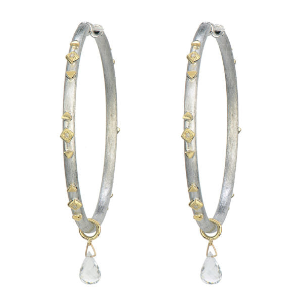 Large Mixed Metal Kite Hoop Earring with Briolette Drops