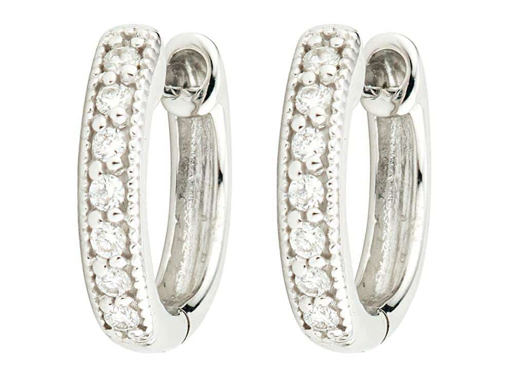 Small Diamond Huggie Hoop Earrings