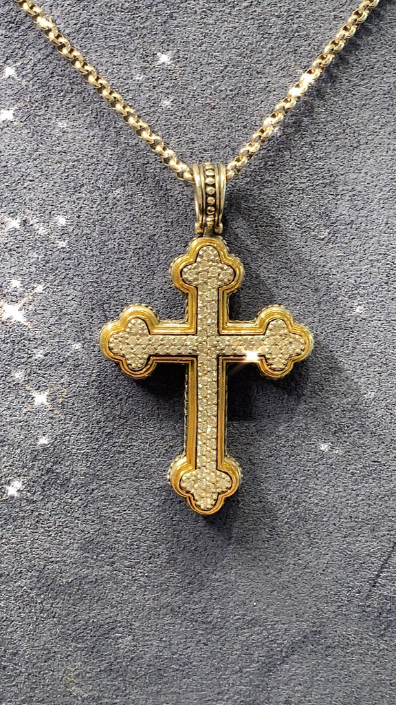 Sterling Silver & 18K Gold Diamond Cross