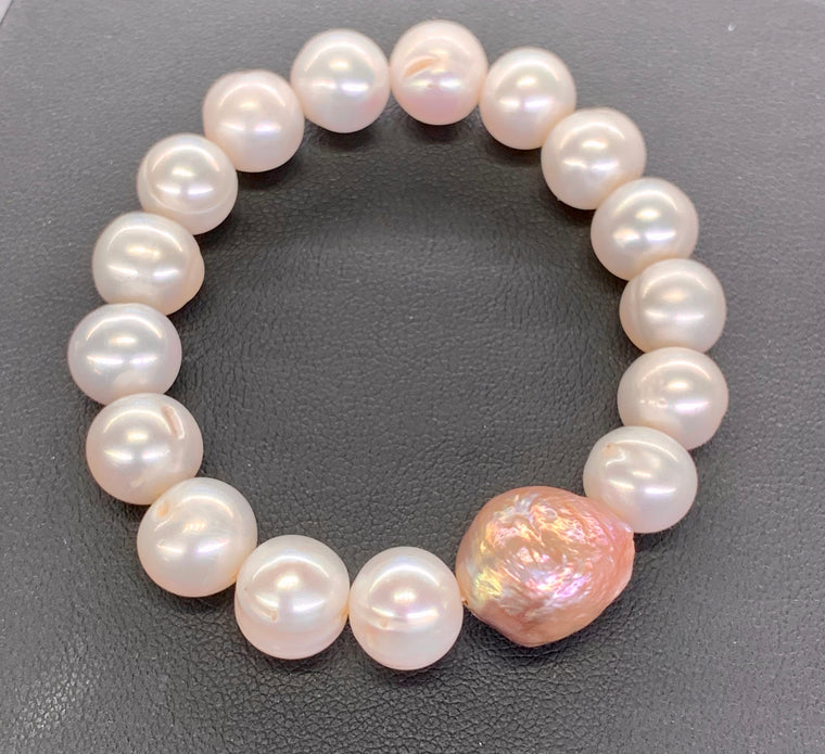 White Freshwater Pearl Bracelet with South Sea Pearl