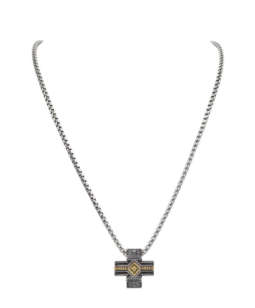 Sterling Silver & 18k Gold Cross Necklace