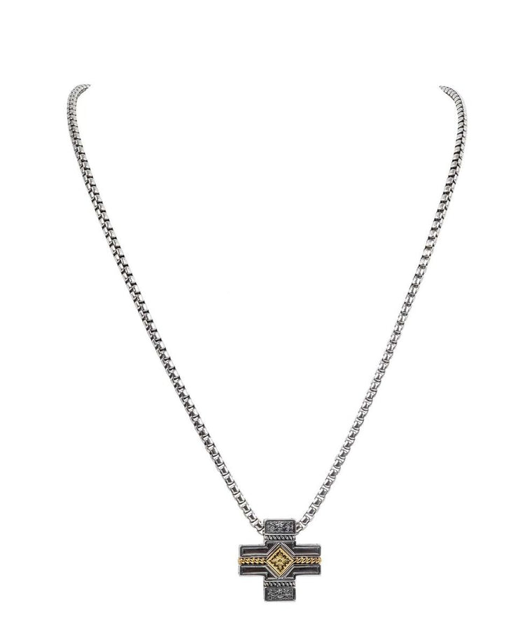 Sterling Silver & 18kt Gold Cross Necklace