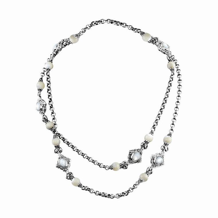 Sterling Silver Mother ofPearl & Pearl Necklace