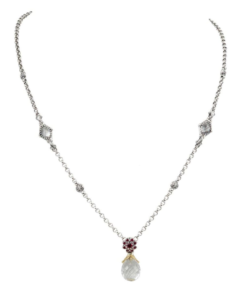 Sterling Silver & 18k Gold Crystal & Corundum Necklace