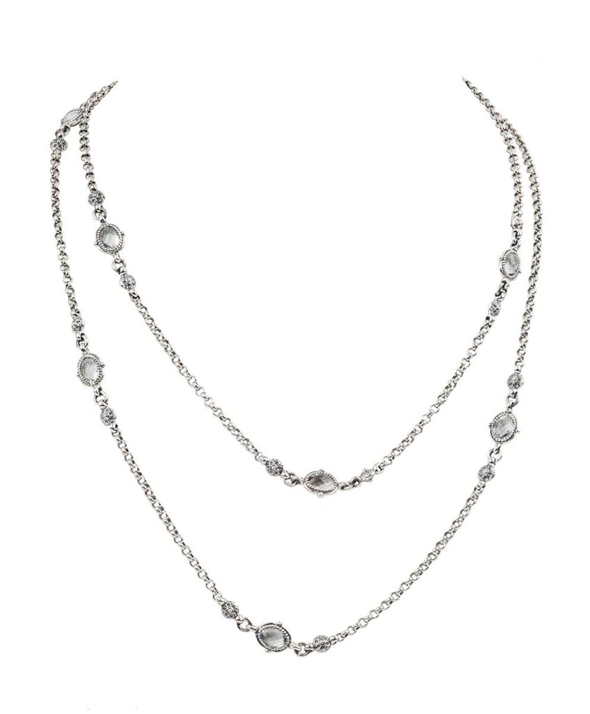 Sterling Silver & 18k Gold Crystal Necklace