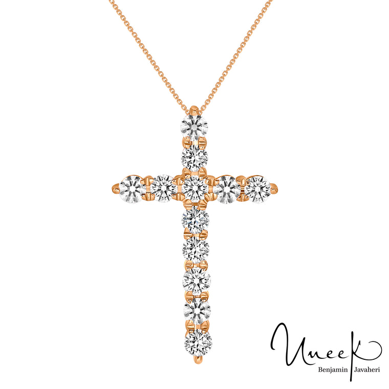 14k Rose Gold Diamond Cross