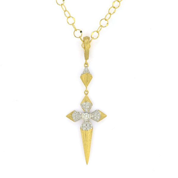 Lisse Medium Pave Pyramid Cross Pendant