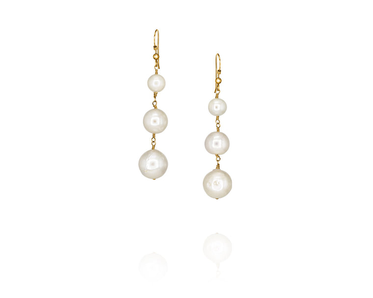 Three Pearls in a Pod Earrings