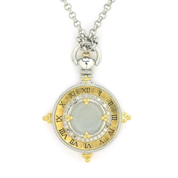 Time Collection Engraved Roman Numeral Pocket Watch Pendant
