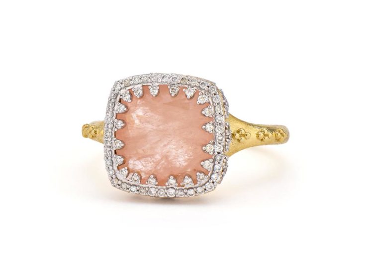 Provence Delicate Pave Trio Cushion Stone Ring
