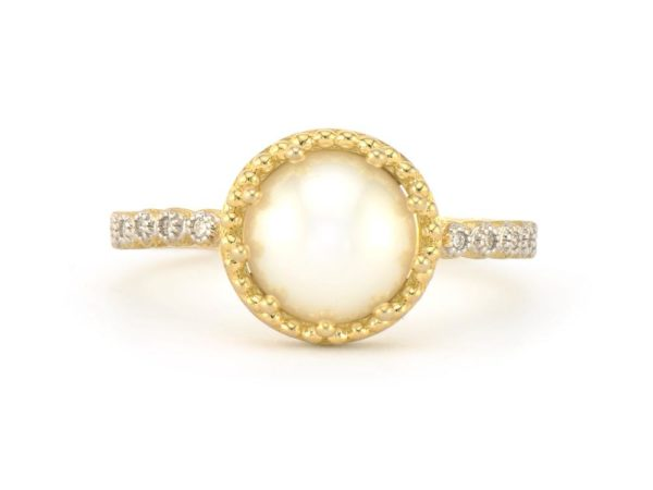 Provence Delicate Pave Trio Pearl RIng