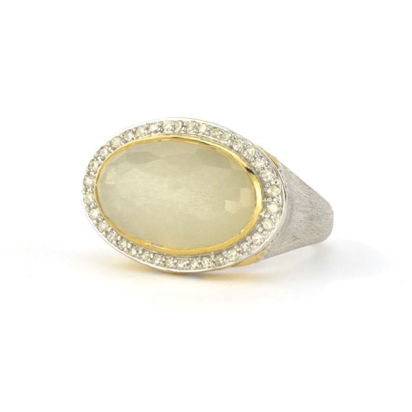 Mixed Metal Pave Halo East West Oval Stone Ring