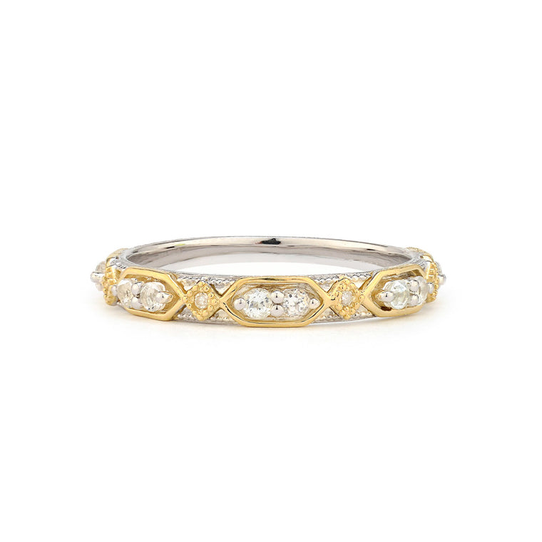 Mixed Metal Open Kite Lisse Stacker Band With Gold Accents