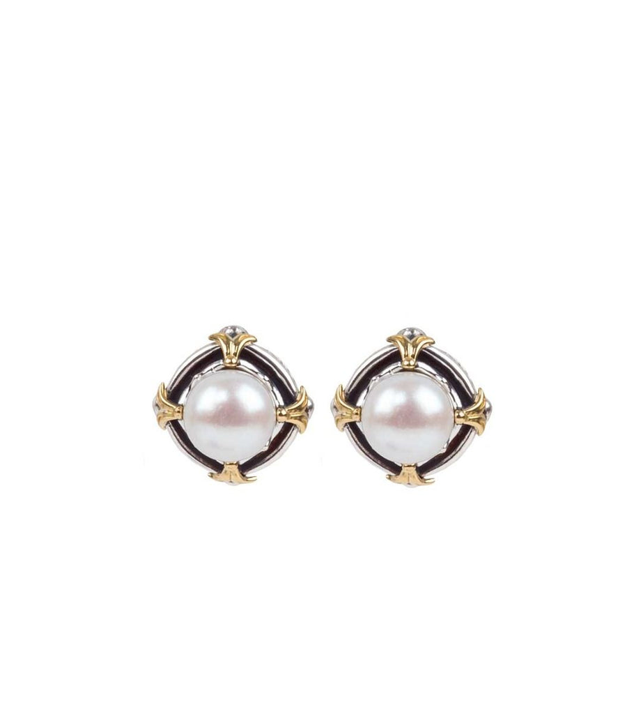Sterling Silver & 18k Gold Pearl Earrings