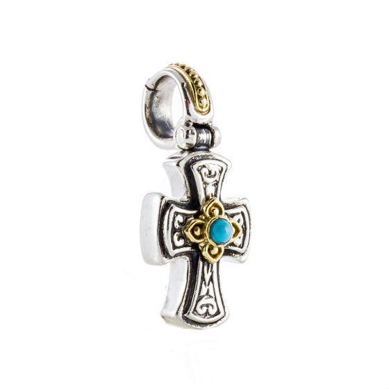 Sterling Silver & 18k Gold Petite Turquoise Cross