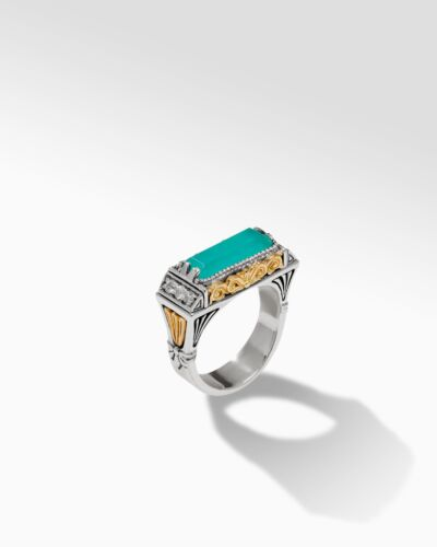 Sterling Silver & 18K Gold Aqua Alter Ring